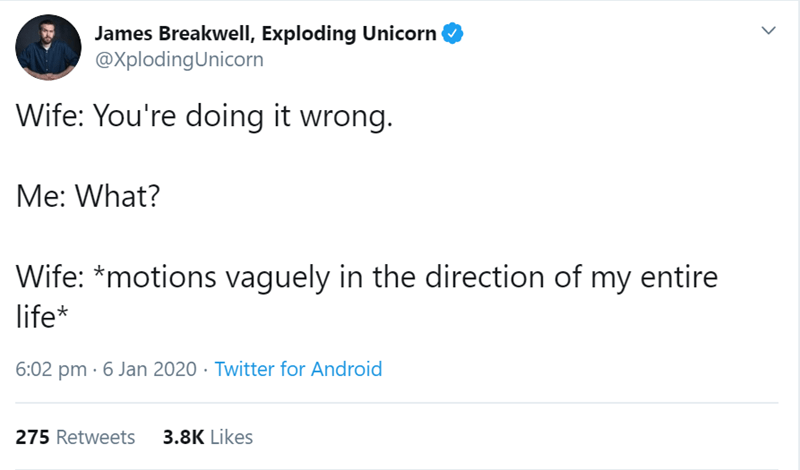 Text - James Breakwell, Exploding Unicorn @XplodingUnicorn Wife: You're doing it wrong. Me: What? Wife: *motions vaguely in the direction of my entire life* 6:02 pm · 6 Jan 2020 · Twitter for Android 3.8K Likes 275 Retweets