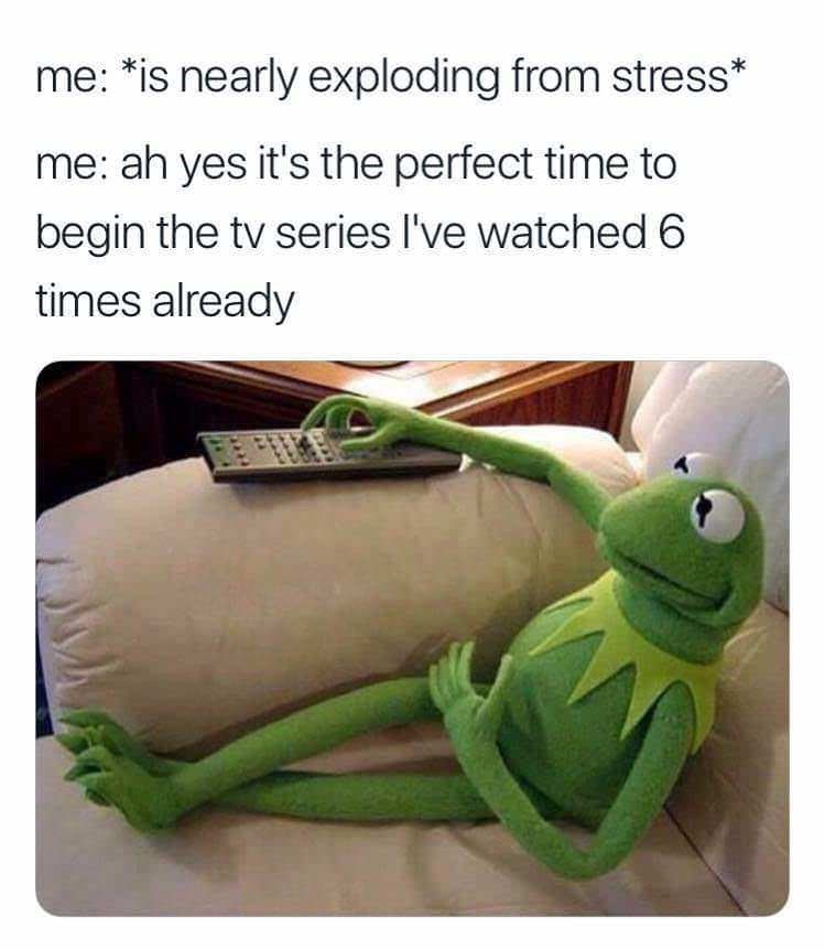 Textile - me: *is nearly exploding from stress* me: ah yes it's the perfect time to begin the tv series I've watched 6 times already