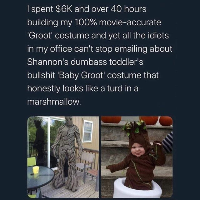 Text - I spent $6K and over 40 hours building my 100% movie-accurate 'Groot' costume and yet all the idiots in my office can't stop emailing about Shannon's dumbass toddler's bullshit 'Baby Groot' costume that honestly looks like a turd in a marshmallow.