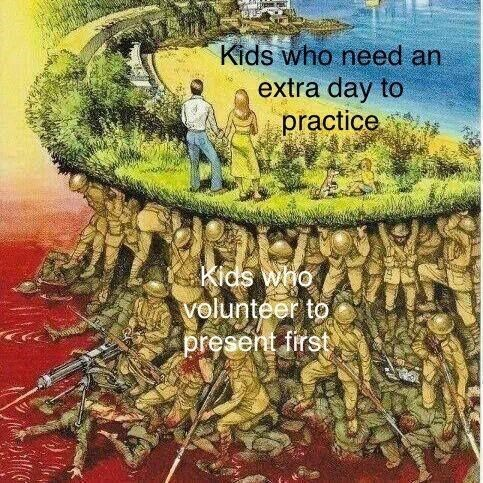 Text - Kids who need an extra day to practice Kids who volunteer to present first
