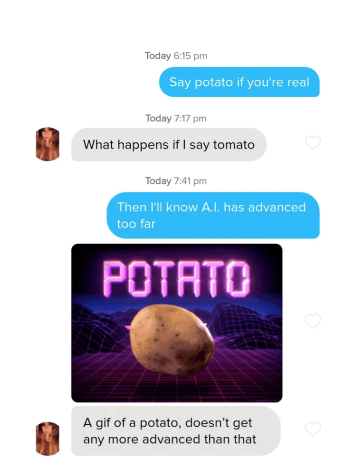 Text - Today 6:15 pm Say potato if you're real Today 7:17 pm What happens if I say tomato Today 7:41 pm Then l'll know A.I. has advanced too far POTATO A gif of a potato, doesn't get any more advanced than that