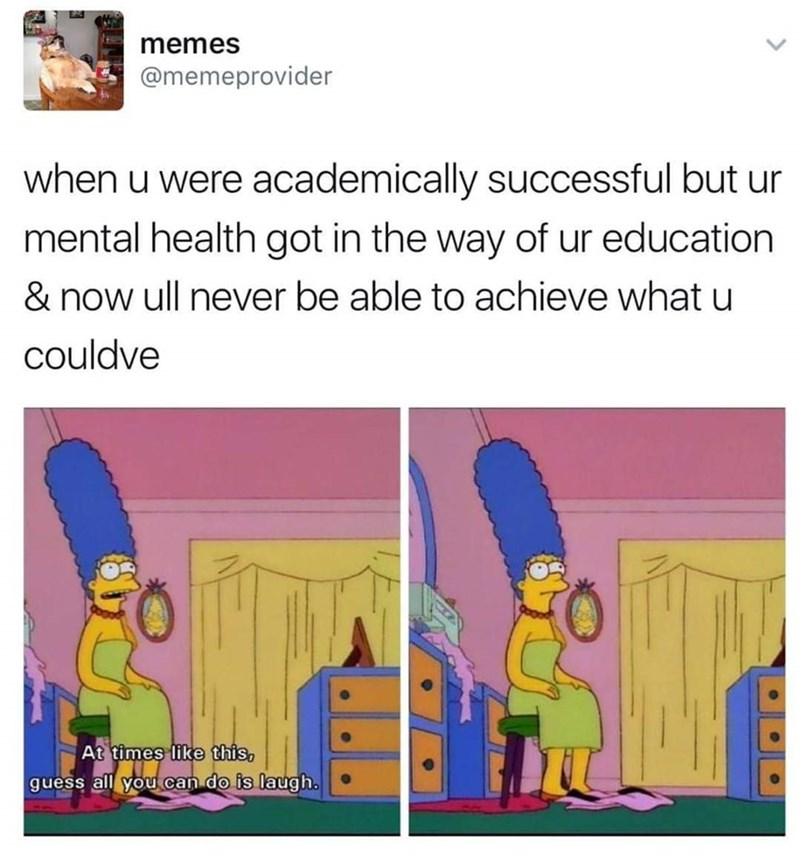 Cartoon - memes @memeprovider when u were academically successful but ur mental health got in the way of ur education & now ull never be able to achieve what u couldve At times like this, guess all you can do is laugh.