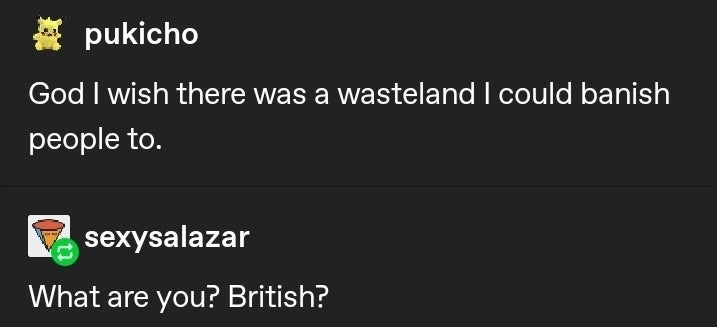 Text - A pukicho God I wish there was a wasteland I could banish people to. sexysalazar What are you? British?