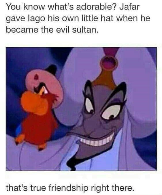 Cartoon - You know what's adorable? Jafar gave lago his own little hat when he became the evil sultan. that's true friendship right there.