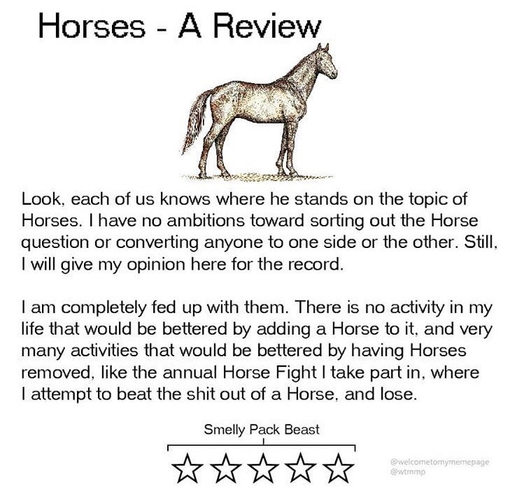 Text - Horses - A Review Look, each of us knows where he stands on the topic of Horses. I have no ambitions toward sorting out the Horse question or converting anyone to one side or the other. Still, I will give my opinion here for the record. I am completely fed up with them. There is no activity in my life that would be bettered by adding a Horse to it, and very many activities that would be bettered by having Horses removed, like the annual Horse Fight I take part in, where I attempt to beat