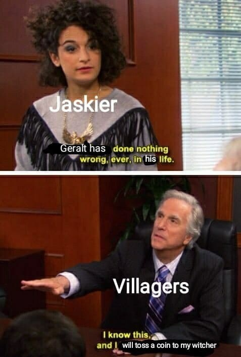Photo caption - Jaskier Geralt has done nothing wrong, ever, in his life. Villagers I know this, and I will toss a coin to my witcher