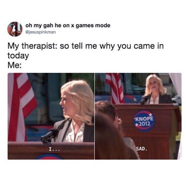 """Photo caption - oh my gah he on x games mode @jesuspinkman My therapist: so tell me why you came in today Me: """"KNOPE 2012 SAD. I..."""