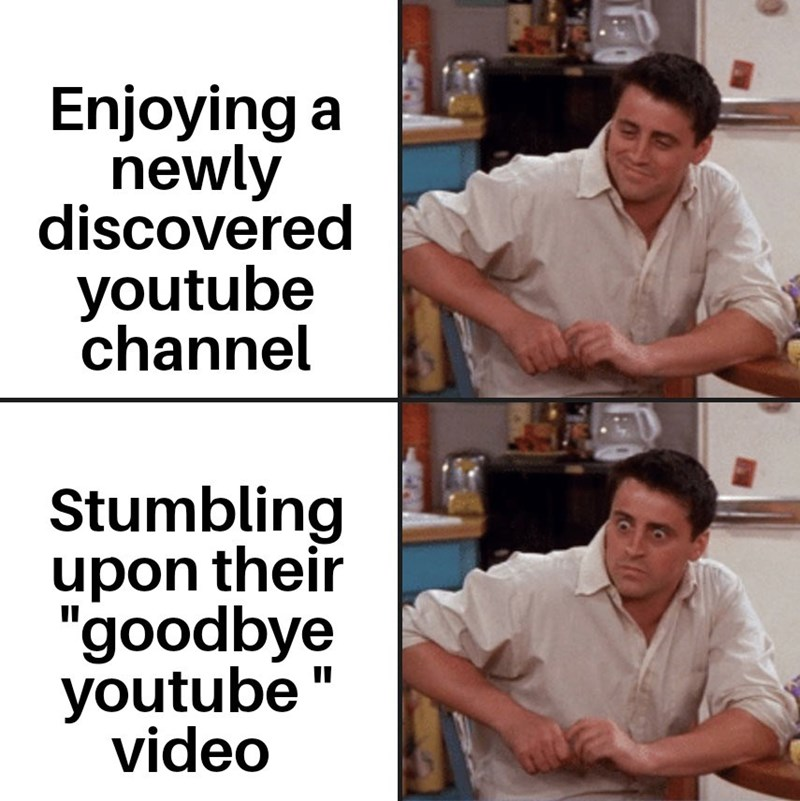 "Text - Enjoying newly discovered youtube channel Stumbling upon their ""goodbye youtube video"