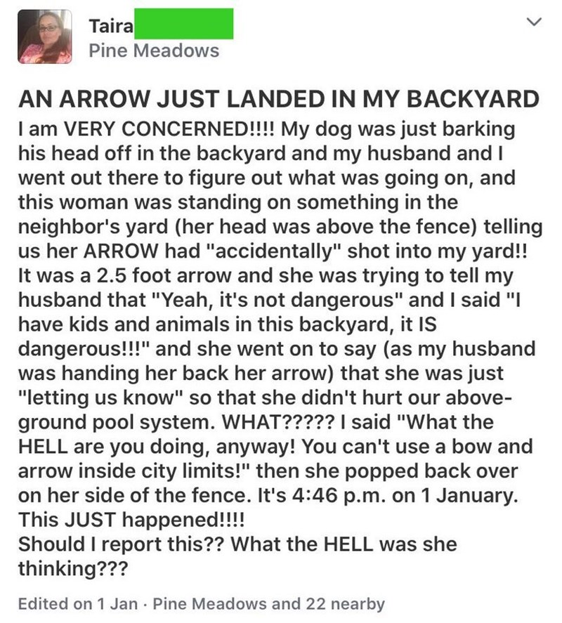 "Text - Taira Pine Meadows AN ARROW JUST LANDED IN MY BACKYARD I am VERY CONCERNED!!!! My dog was just barking his head off in the backyard and my husband and I went out there to figure out what was going on, and this woman was standing on something in the neighbor's yard (her head was above the fence) telling us her ARROW had ""accidentally"" shot into my yard!! It was a 2.5 foot arrow and she was trying to tell my husband that ""Yeah, it's not dangerous"" and I said ""I have kids and animals in this"