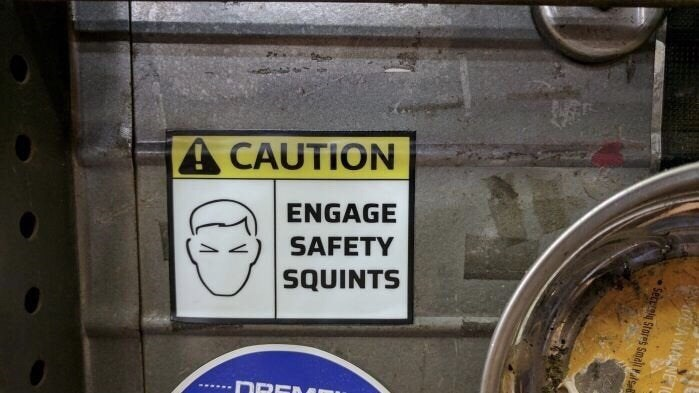 Font - A CAUTION ENGAGE SAFETY SQUINTS הב EA MAENE I Secelg Stares Smali Pals