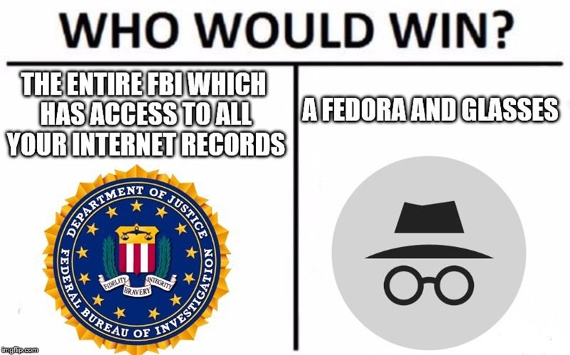 WHO WOULD WIN? THE ENTIRE FBI WHICH HAS ACCESS TO ALL YOUR INTERNET RECORDS A FEDORA AND GLASSES OF JUSTICE ENT DEPARTME RAL BUREAS FIDELITY BRAVERY STEGRITY OF imgflip.com NOILVDIUSHANT