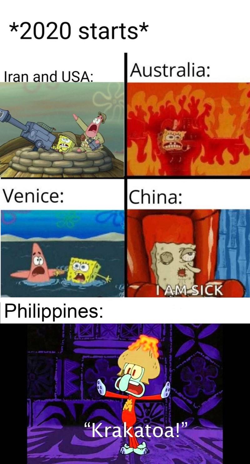 "Cartoon - *2020 starts* Australia: Iran and USA: |China: Venice: AM-SICK Philippines: ""Krakatoa!"""