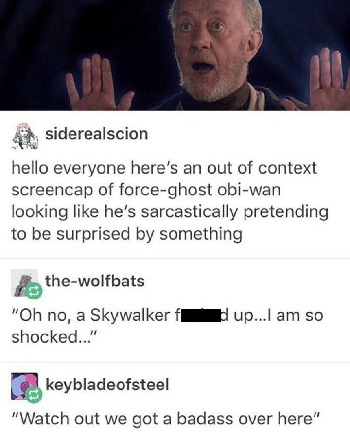 "Text - siderealscion hello everyone here's an out of context screencap of force-ghost obi-wan looking like he's sarcastically pretending to be surprised by something the-wolfbats ""Oh no, a Skywalker fl shocked..."" d up...l am so keybladeofsteel ""Watch out we got a badass over here"""