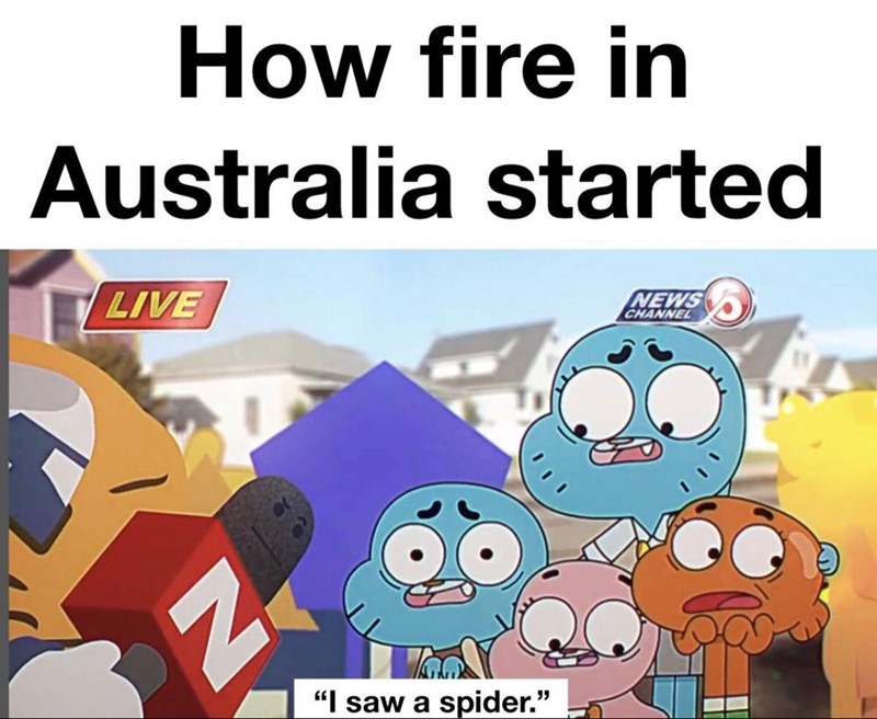 "Cartoon - How fire in Australia started LIVE NEWS CHANNEL ""I saw a spider."""