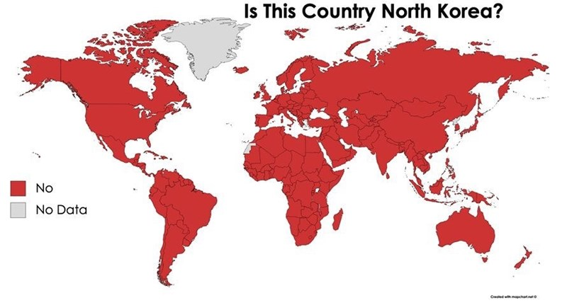 Red - Is This Country North Korea? No No Data Created wth mapchatnete