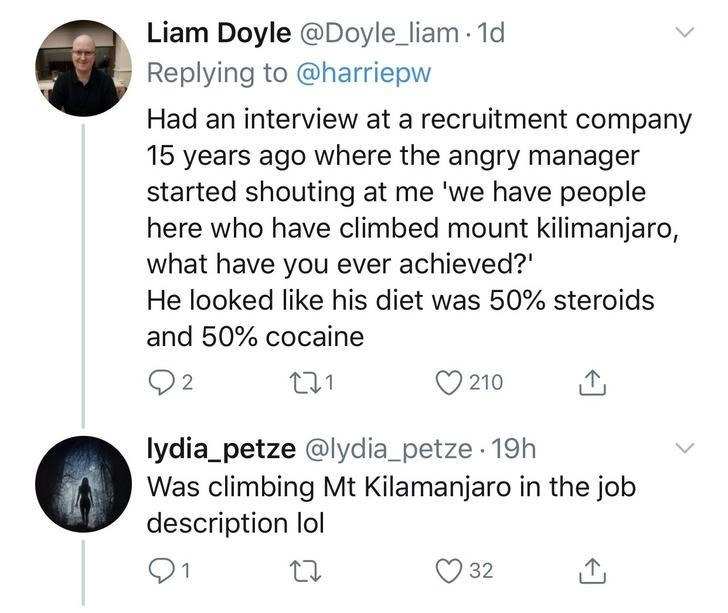 Text - Liam Doyle @Doyle_liam 1d Replying to @harriepw Had an interview at a recruitment company 15 years ago where the angry manager started shouting at me 'we have people here who have climbed mount kilimanjaro, what have you ever achieved?' He looked like his diet was 50% steroids and 50% cocaine Q2 210 lydia_petze @lydia_petze 19h Was climbing Mt Kilamanjaro in the job description lol 32