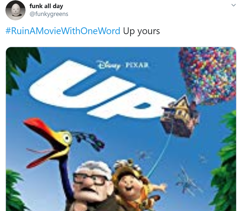 Product - funk all day @funkygreens #RuinAMovieWithOneWord Up yours UP Diy PIXAR