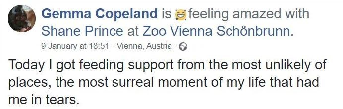 Text - Gemma Copeland is e feeling amazed with Shane Prince at Zoo Vienna Schönbrunn. 9 January at 18:51 - Vienna, Austria - O Today I got feeding support from the most unlikely of places, the most surreal moment of my life that had me in tears.
