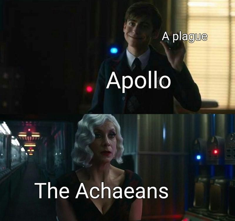 Photo caption - A plague Apollo The Achaeans