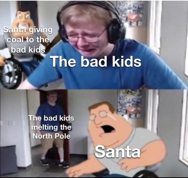 Facial expression - Santa giving coal to the bad kids The bad kids The bad kids melting the North Pole Santa