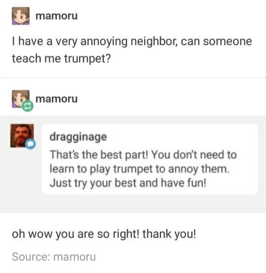 Text - mamoru I have a very annoying neighbor, can someone teach me trumpet? mamoru dragginage That's the best part! You don't need to learn to play trumpet to annoy them. Just try your best and have fun! oh wow you are so right! thank you! Source: mamoru