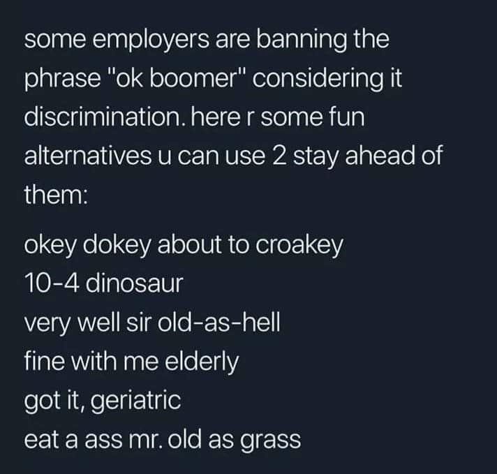 "Text - some employers are banning the phrase ""ok boomer"" considering it discrimination. here r some fun alternatives u can use 2 stay ahead of them: okey dokey about to croakey 10-4 dinosaur very well sir old-as-hell fine with me elderly got it, geriatric eat a ass mr. old as grass"