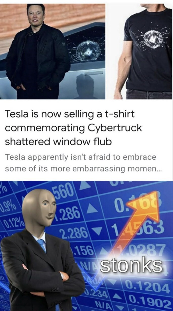 Job - Tesla is now selling a t-shirt commemorating Cybertruck shattered window flub Tesla apparently isn't afraid to embrace some of its more embarrassing momen. 560 286 A 2.286 14563 156 0287 Wstonks 0.168 0.9% |0.12% 0.1204 0.234A0.1902 N/A 66 213 027