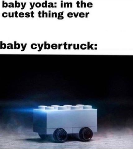 Product - baby yoda: im the cutest thing ever baby cybertruck: