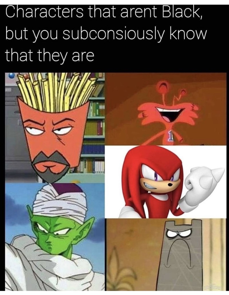 Cartoon - Characters that arent Black, but you subconsiously know that they are
