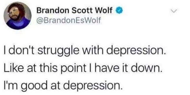 Text - Brandon Scott Wolf O @BrandonEsWolf I don't struggle with depression. Like at this point I have it down. I'm good at depression.