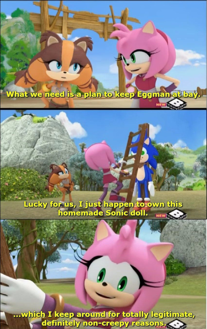 Cartoon - What we need is a plan to keep Eggman at bay. NEW RANG Lucky for us, I just happen to:own this homemade Sonic doll. NEW ANG ...which I keep around for totally legitimate, definitely non-creepy reasons.