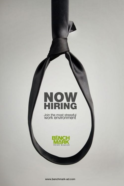 Logo - NOW HIRING Join the most stressfyl work environment BENCH MARK Ihink berond www.benchmark-ad.com