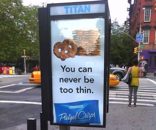 Advertising - TITAN You can never be too thin. Fatgel Crisps