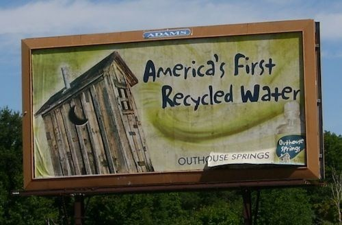 Advertising - ADAMS America's First Recycled Water Outhouse SPrings OUTHOUSE SPRINGS