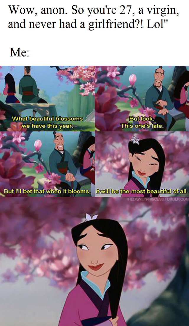 """Cartoon - Wow, anon. So you're 27, a virgin, and never had a girlfriend?! Lol"""" Me: What beautiful blossoms we have this year. But look. This one's late. But l'll bet that when it blooms, it will be the most beautiful of all. THEDISNEYPRINCESS TUMBLR.COM"""