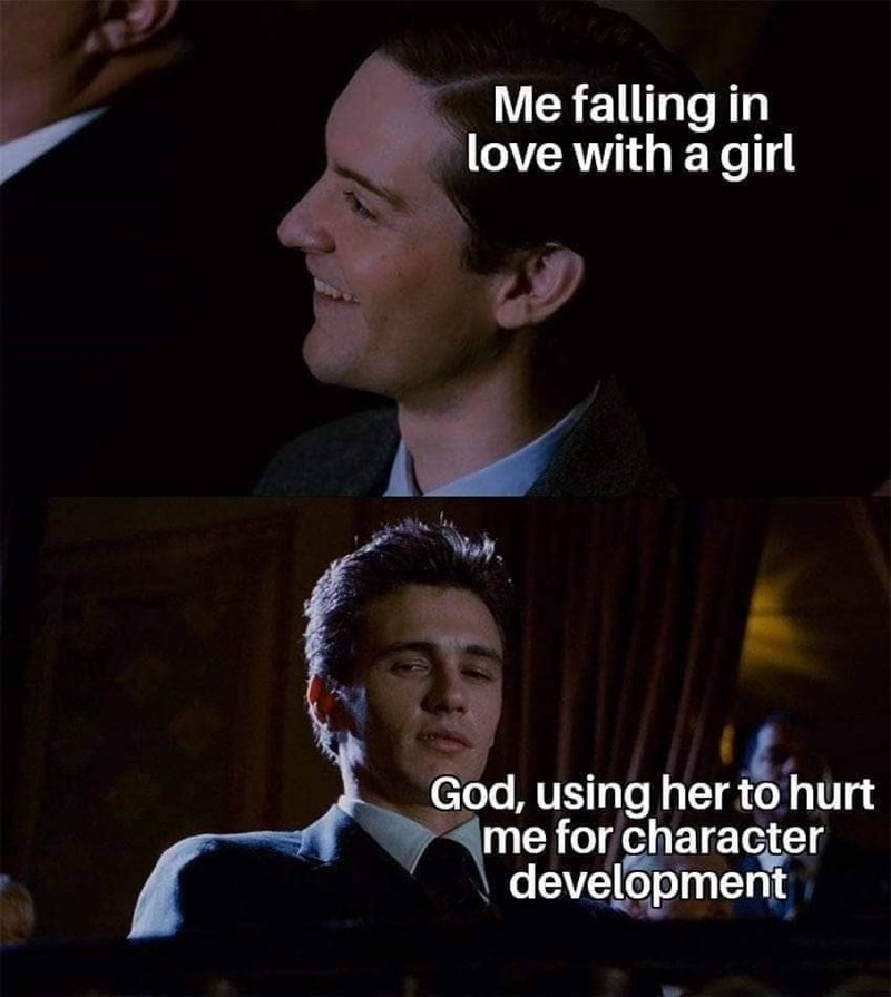 Facial expression - Me falling in love with a girl God, using her to hurt me for character development