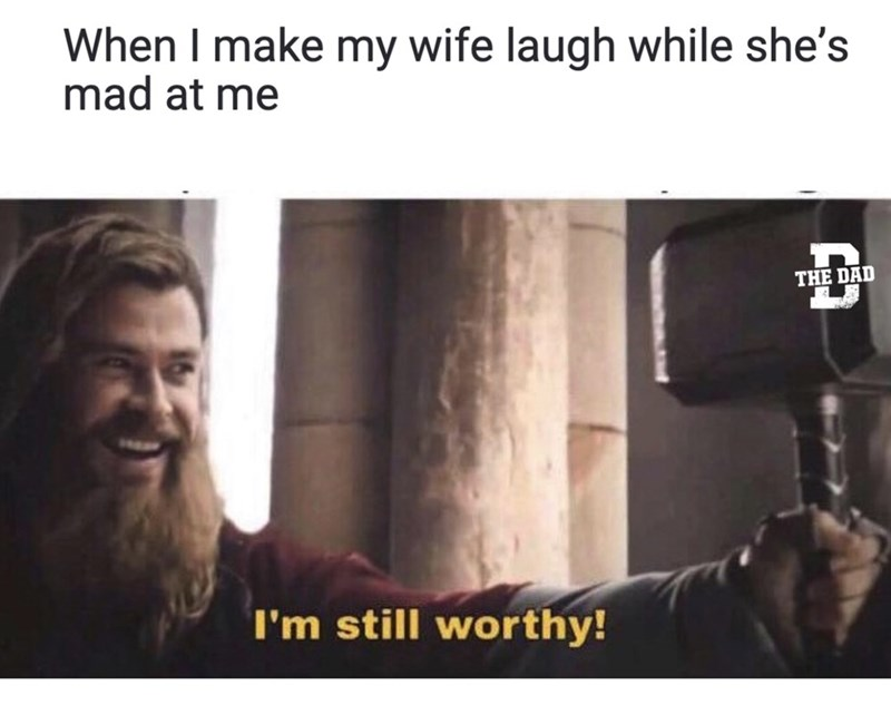 Text - When I make my wife laugh while she's mad at me THE DAD I'm still worthy!