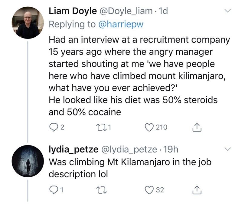 Text - Liam Doyle @Doyle_liam 1d Replying to @harriepw Had an interview at a recruitment company 15 years ago where the angry manager started shouting at me 'we have people here who have climbed mount kilimanjaro, what have you ever achieved?' He looked like his diet was 50% steroids and 50% cocaine Q2 210 lydia_petze @lydia_petze · 19h Was climbing Mt Kilamanjaro in the job description lol 32
