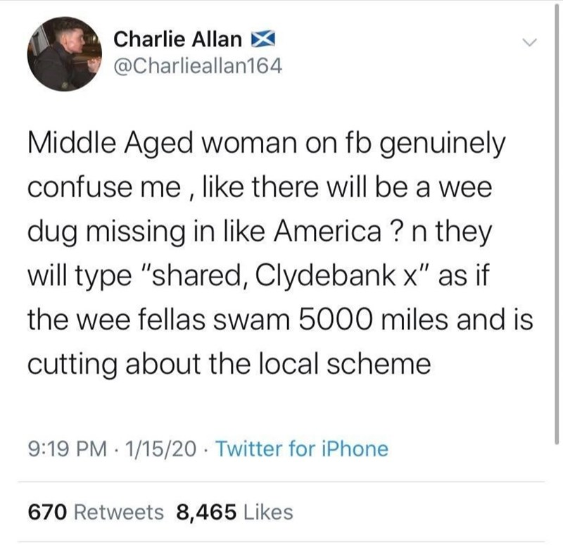 "Text - Charlie Allan - @Charlieallan164 Middle Aged woman on fb genuinely confuse me , like there will be a wee dug missing in like America ? n they will type ""shared, Clydebank x"" as if the wee fellas swam 5000 miles and is cutting about the local scheme 9:19 PM 1/15/20 Twitter for iPhone 670 Retweets 8,465 Likes"