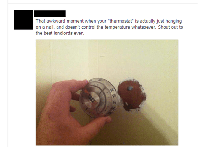 """Door handle - That awkward moment when your """"thermostat"""" is actually just hanging on a nail, and doesn't control the temperature whatsoever. Shout out to the best landlords ever. BOHM"""