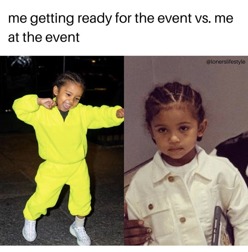 Yellow - me getting ready for the event vs. me at the event @lonerslifestyle
