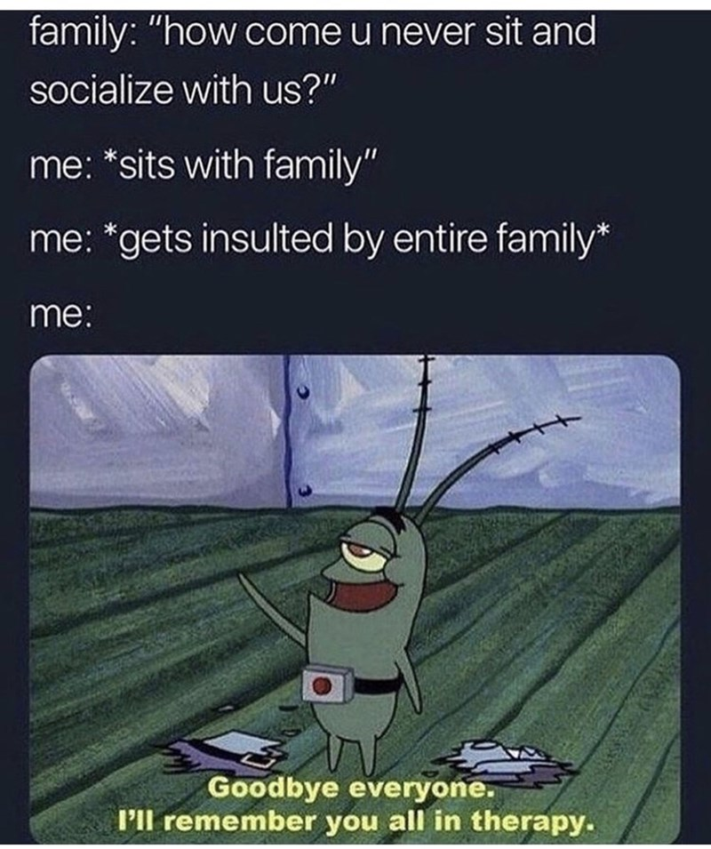 """Cartoon - family: """"how come u never sit and socialize with us?"""" me: *sits with family"""" me: *gets insulted by entire family* me: Goodbye everyone. l'll remember you all in therapy."""