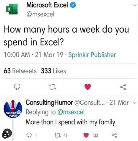 Text - Microsoft Excel @msexcel How many hours a week do you spend in Excel? 10:00 AM 21 Mar 19 Sprinklr Publisher 63 Retweets 333 Likes 27 ConsultingHumor @Consult... 21 Mar v Replying to @msexcel More than I spend with my family CONSULTING HUMOR 27 41 132