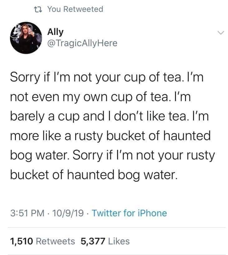 Text - t7 You Retweeted Ally @TragicAllyHere Sorry if l'm not your cup of tea. I'm not even my own cup of tea. I'm barely a cup and I don't like tea. I'm more like a rusty bucket of haunted bog water. Sorry if I'm not your rusty bucket of haunted bog water. 3:51 PM · 10/9/19 Twitter for iPhone 1,510 Retweets 5,377 Likes