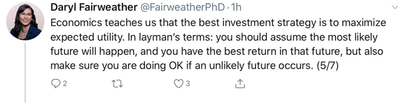 Text - Daryl Fairweather @FairweatherPhD - 1h Economics teaches us that the best investment strategy is to maximize expected utility. In layman's terms: you should assume the most likely future will happen, and you have the best return in that future, but also make sure you are doing OK if an unlikely future occurs. (5/7)