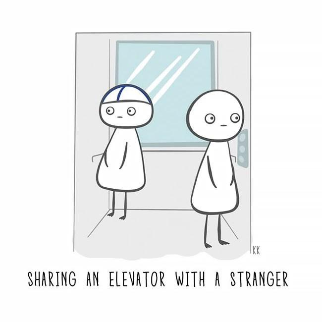 Cartoon - KK SHARING AN ELEVATOR WITH A STRANGER