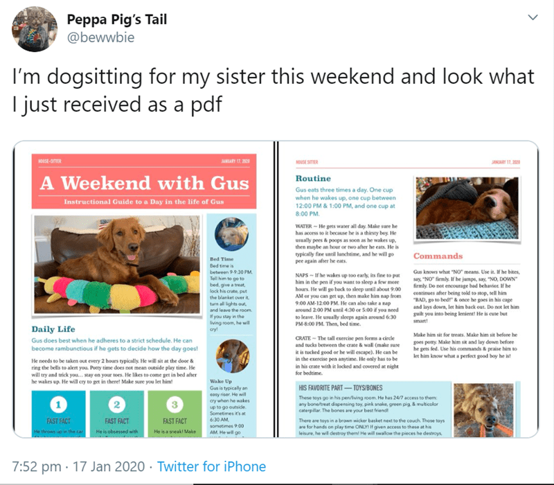 Web page - Peppa Pig's Tail @bewwbie I'm dogsitting for my sister this weekend and look what I just received as a pdf HOUSE-SITTER JANLARY 17, 2000 HOUSE SITER JANJARY 17, 2020 A Weekend with Gus Routine Gus eats three times a day. One cup when he wakes up, one cup between 12:00 PM & 1:00 PM, and one cup at Instructional Guide to a Day in the life of Gus 8:00 PM. WATER - He gets water all day. Make sure he has access to it because he is a thirsty boy He usually pees & poops as soon as he wakes u