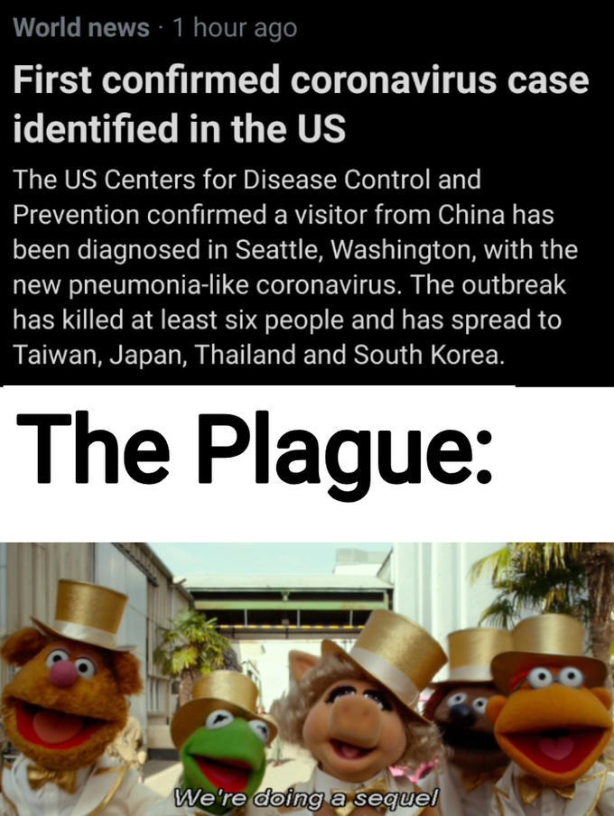 Organism - World news ·1 hour ago First confirmed coronavirus case identified in the US The US Centers for Disease Control and Prevention confirmed a visitor from China has been diagnosed in Seattle, Washington, with the new pneumonia-like coronavirus. The outbreak has killed at least six people and has spread to Taiwan, Japan, Thailand and South Korea. The Plague: We're doing a sequel