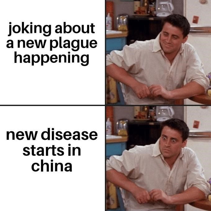 Job - joking about a new plague happening new disease starts in china
