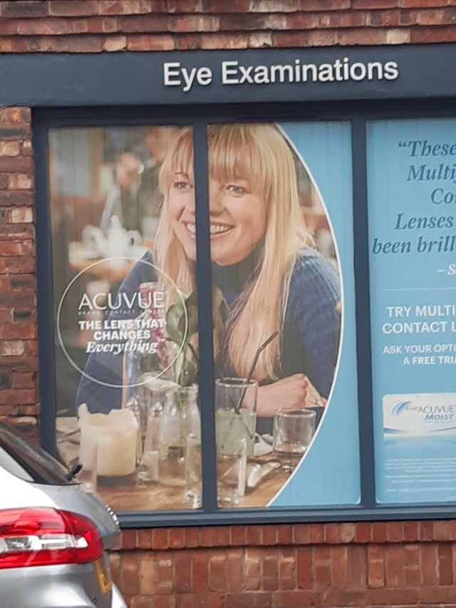 """Advertising - Eye Examinations """"These Multi Co Lenses been brill -S ACUVUE T STACE TRY MULTI THE LENSTHAT CHANGES Everything CONTACT L ASK YOUR OPTI A FREE TRIA HoACUVUE MOIST"""